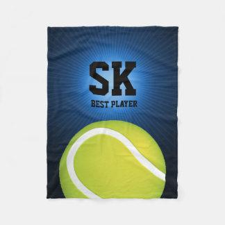 名前入りな緑のテニス・ボール フリースブランケット