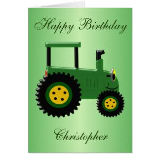 名前入りな緑のトラクターの誕生日 グリーティングカード