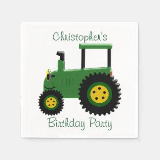 名前入りな緑のトラクターの誕生日 スタンダードカクテルナプキン