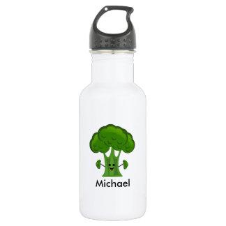 名前入りな緑のブロッコリー ウォーターボトル