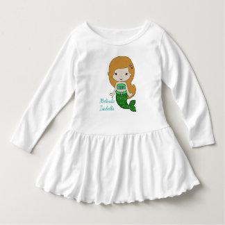名前入りな緑の人魚のベビーの服 ドレス