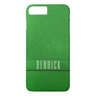 名前入りな緑の模造のな革電話箱 iPhone 8 PLUS/7 PLUSケース