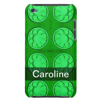 名前入りな緑の花模様 Case-Mate iPod TOUCH ケース