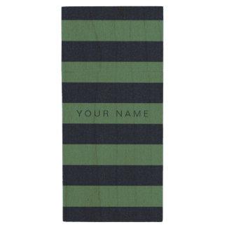 名前入りな緑及びストライプのな濃紺 ウッドUSBフラッシュドライブ