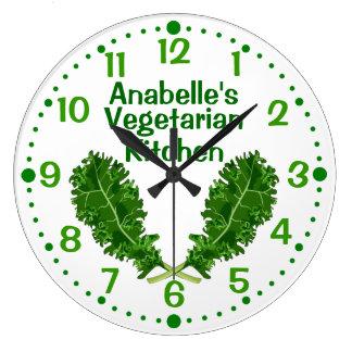 名前入りな緑葉カンランの分の菜食主義の台所時計 ラージ壁時計