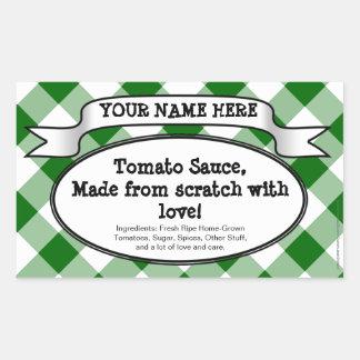 名前入りな缶詰になる瓶のラベル、緑のギンガムの込み合い 長方形シール