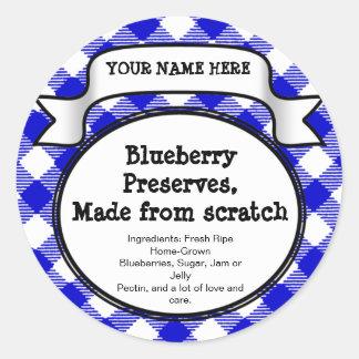 名前入りな缶詰になる瓶またはふたのラベル、青いギンガム ラウンドシール