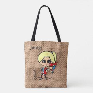 名前入りな美容師のバッグの風刺漫画のブロンドの女性 トートバッグ