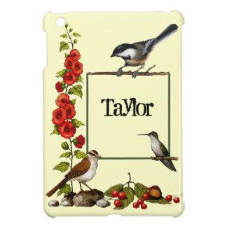 名前入りな自然のボーダー: 鳥、花、芸術 iPad MINIケース