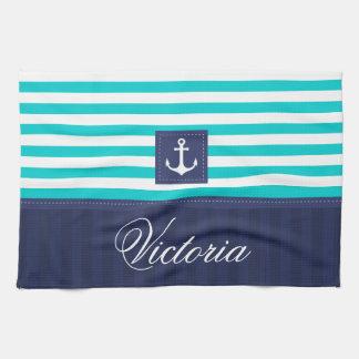 名前入りな航海のな水の青い縞のいかり キッチンタオル