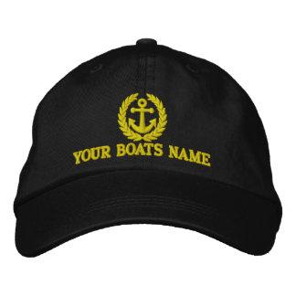 名前入りな航行ボートの大尉 刺繍入りキャップ