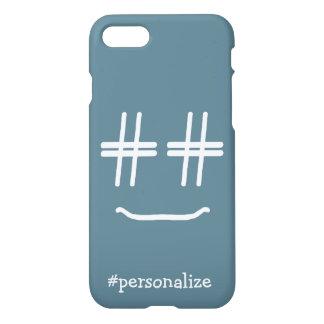 名前入りな色の#Hashtagのスマイリーフェイスを選んで下さい iPhone 8/7 ケース