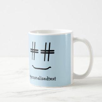 名前入りな色# Hashtagのスマイリーを選んで下さい コーヒーマグカップ