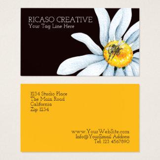 名前入りな花のカスタムの水彩画の蜂 名刺