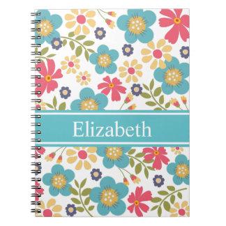 名前入りな花のティール(緑がかった色)および黄色いノート ノートブック