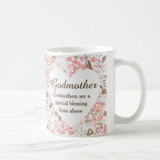名前入りな花のハートの教母 コーヒーマグカップ