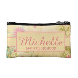 名前入りな花の化粧品のバッグ コスメティックバッグ