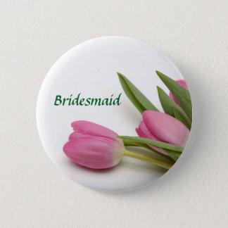 名前入りな花の新婦付添人かブライダルパーティ 缶バッジ