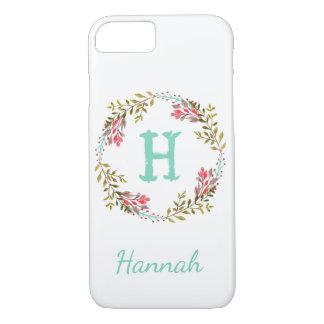 名前入りな花の水彩画のイニシャルの電話箱 iPhone 7ケース
