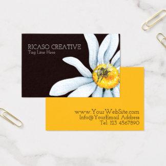 名前入りな花の水彩画の蜂 名刺