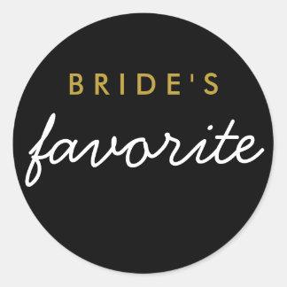 名前入りな花嫁のお気に入りのなステッカーの黒の金ゴールド ラウンドシール