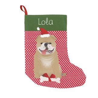 名前入りな英国のブルドッグのもみ革色 スモールクリスマスストッキング