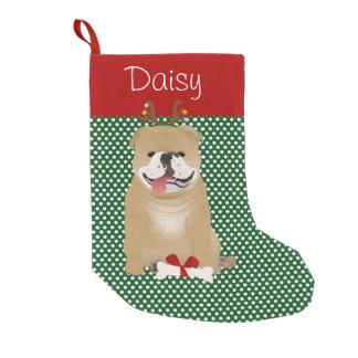 名前入りな英国のブルドッグの子鹿色 スモールクリスマスストッキング