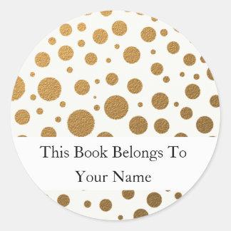 名前入りな蔵書票|の金ゴールドのグリッターの点 ラウンドシール