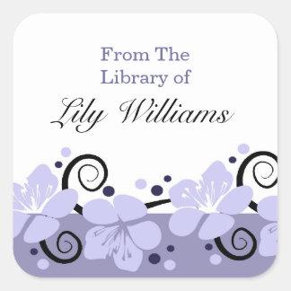 名前入りな蔵書票-紫色の花 スクエアシール