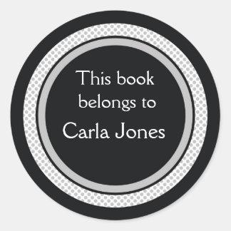 名前入りな蔵書票: 黒いおよび灰色の水玉模様 ラウンドシール