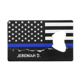 名前入りな薄いブルーライン米国旗 クレジットカード栓抜き