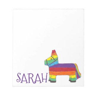 名前入りな虹のろばのPiñataの誕生会 ノートパッド