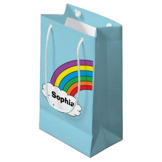 名前入りな虹のギフトバッグ スモールペーパーバッグ