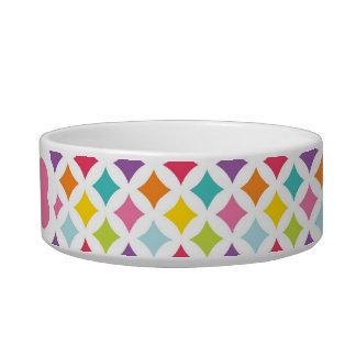 名前入りな虹のダイヤモンドのプリント 猫用水皿