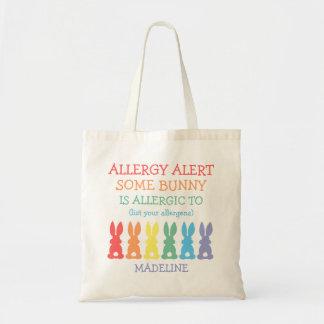 名前入りな虹のバニーの食物アレルギー警報 トートバッグ