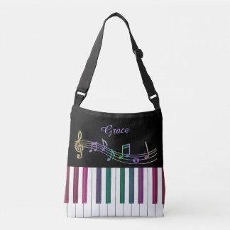 名前入りな虹のピアノ音楽トートバック クロスボディバッグ