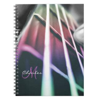 名前入りな虹のベースギター音楽ノート ノートブック