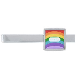 名前入りな虹パターン シルバー タイバー