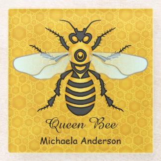 名前入りな蜜蜂の蜜蜂の巣の女王バチ ガラスコースター