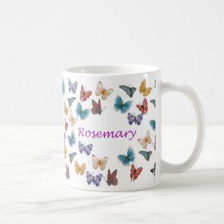 名前入りな蝶マグ-ローズマリー コーヒーマグカップ