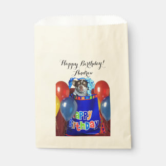 名前入りな誕生日のチワワ犬の御馳走バッグ フェイバーバッグ