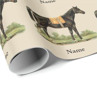 名前入りな豪華な馬の芸術のギフト用包装紙 ラッピングペーパー