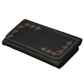 名前入りな財布-黒い1bの赤及び金ゴールド