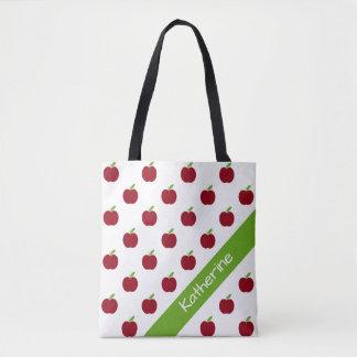 名前入りな赤いおよび緑の先生のりんご トートバッグ