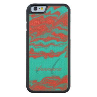 名前入りな赤いターコイズの波状ラインモノグラム CarvedメープルiPhone 6バンパーケース