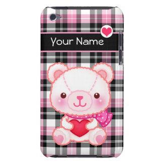 名前入りな赤いハートを持つかわいいピンクくま- BARELY THERE iPod カバー