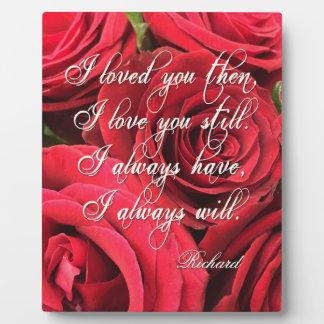 名前入りな赤いバラ愛の花束 フォトプラーク