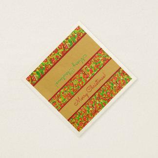 名前入りな赤および緑の抽象的な花柄- スタンダードカクテルナプキン