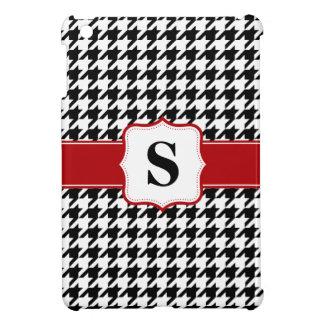 名前入りな赤くおよび黒く千鳥格子のなモノグラム iPad MINIカバー