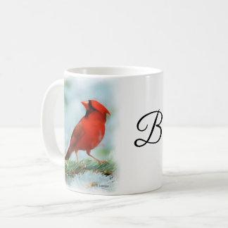 名前入りな赤く基本的なプリント コーヒーマグカップ